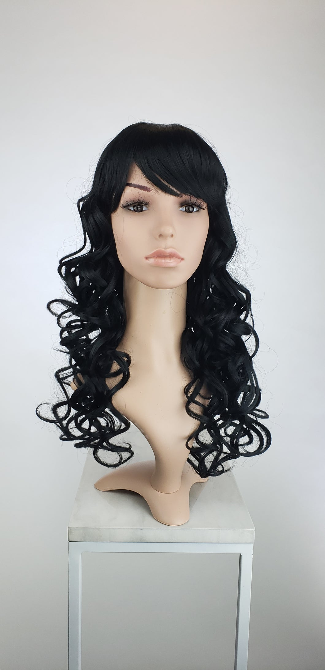 Black Long Curly with Bangs Fashion Wig HSEVE1