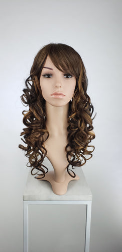 Dark Brown with Highlights Long Curly with Bangs Fashion Wig HSEVE18