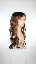 "Balayage Brown Ombre Long Curly Hair with Bangs Fashion Wig - Large 23"" size - HSFAN70"