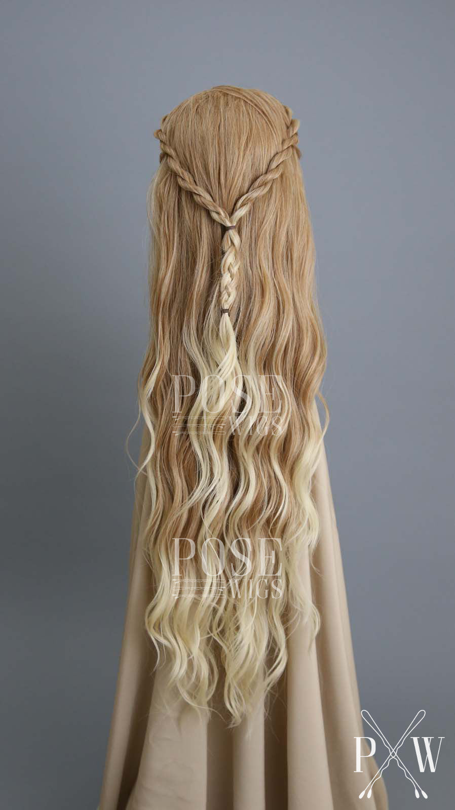 Strawberry Blonde Ombre Custom Braided Long Curly Lace Front Wig - Lady Series