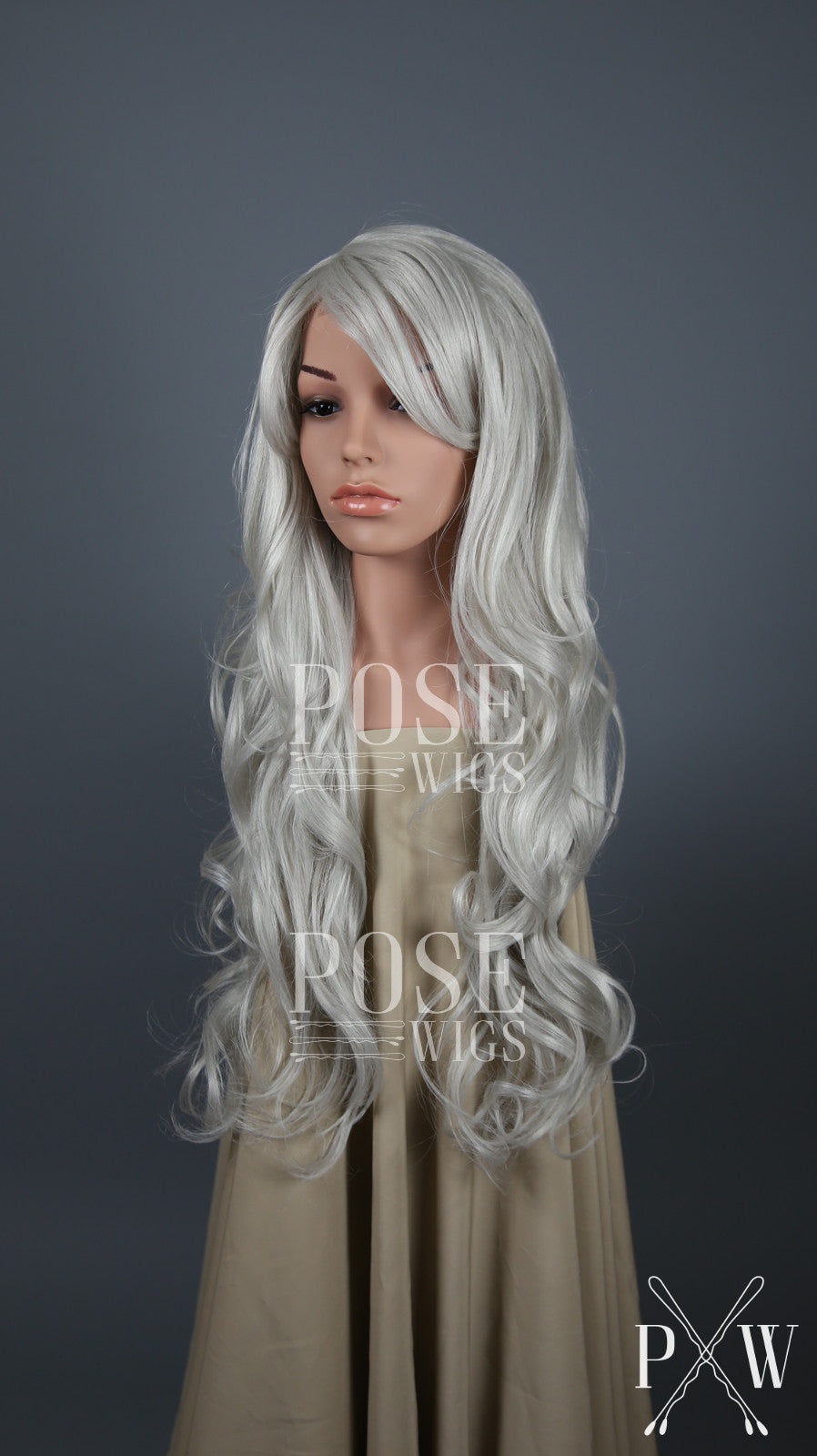 Silver Grey Long Wavy Hair with Bangs Fashion Wig HSBOS68