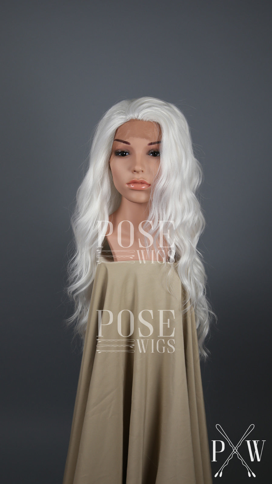 White Long Wavy Lace Front Wig - Lady Series LLYVO69