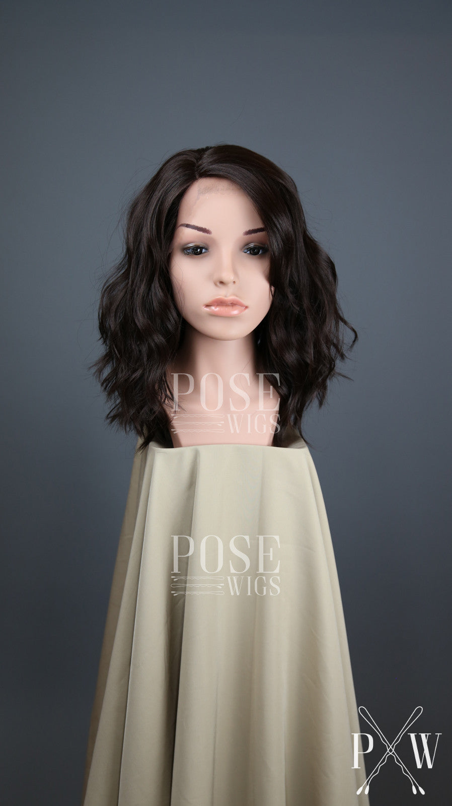 Dark Brown Medium Length Wavy Bob Lace Front Wig - Lady Series LLHAZ10