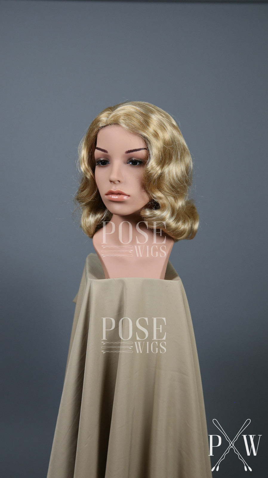 Blonde Mix Short Finger Wave Vintage Curls Costume Fashion Wig FETE38