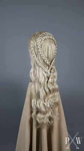 Daenerys Costume Wig Ash Blonde Custom Braided Long Curly Lace Front Wig - Princess Series