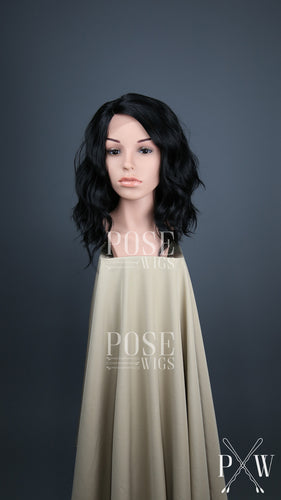 Black Medium Length Wavy Bob Lace Front Wig - Lady Series LLHAZ1