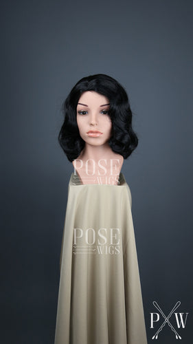 Black Short Finger Wave Vintage Curls Costume Fashion Wig FETE1