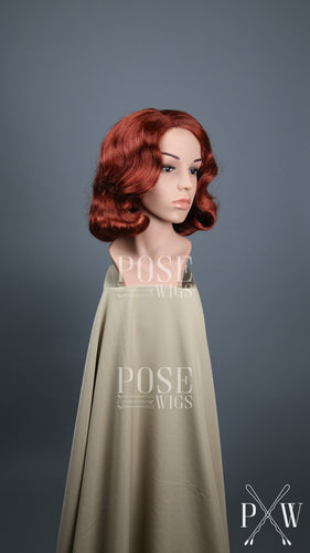 Red Short Finger Wave Vintage Curls Costume Fashion Wig FETE53