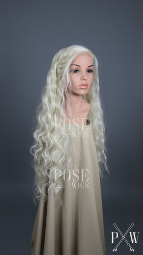 Daenerys Cosplay Wig White Blonde Custom Braided Long Wavy Lace Front Wig - Queen Series