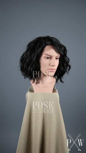 Mens Black Short Curly Bob Lace Front Wig - LLPEA1