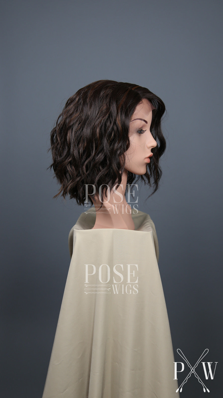 Dark Brown With Highlights Short Curly Bob Lace Front Wig Lady