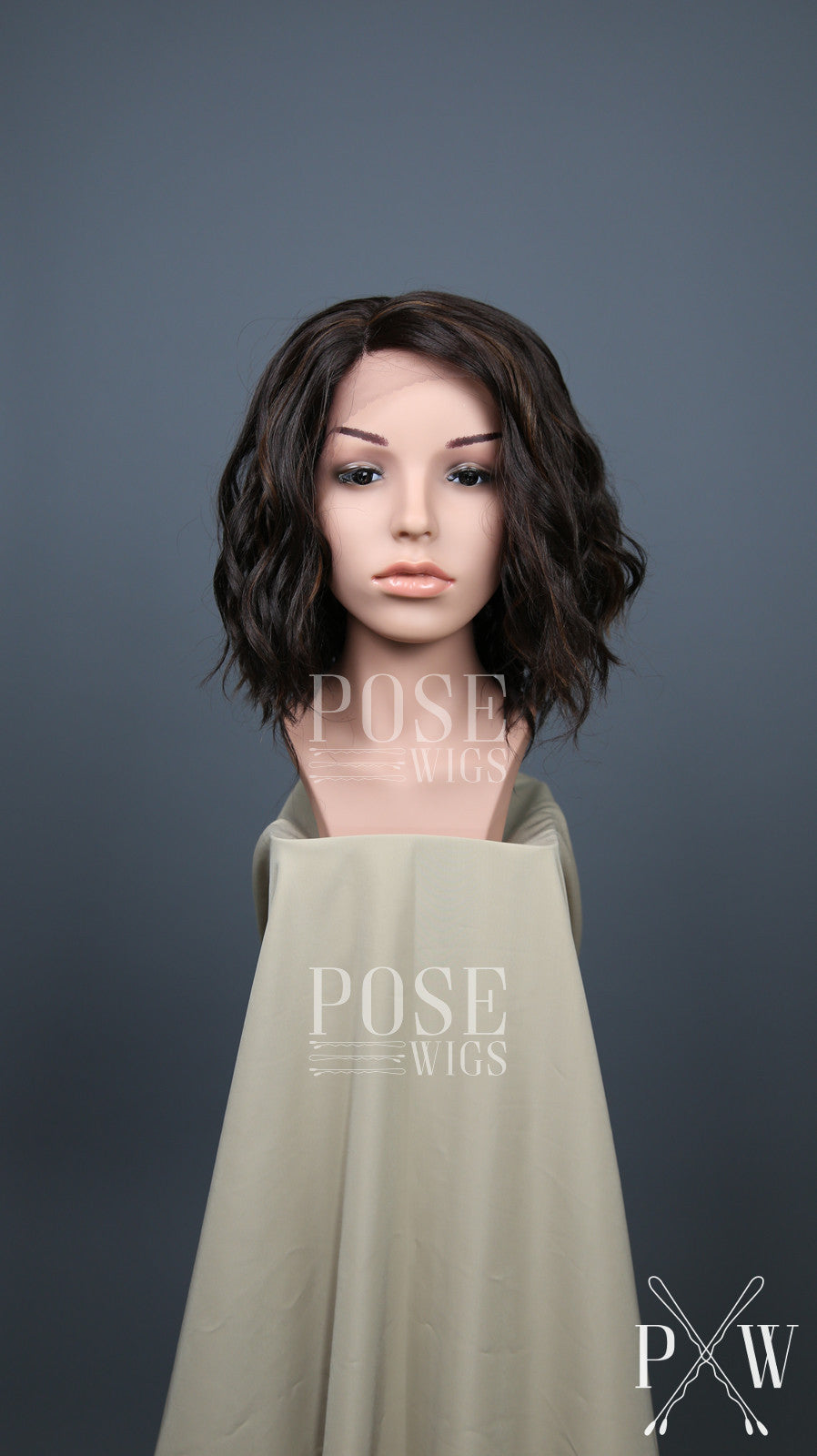 Dark Brown with Highlights Short Curly Bob Lace Front Wig - Lady Series LLPEA11