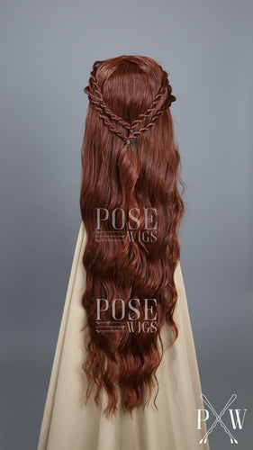 Margaery Tyrell Cosplay Red Custom Braided Long Curly Lace Front Wig - Lady Series