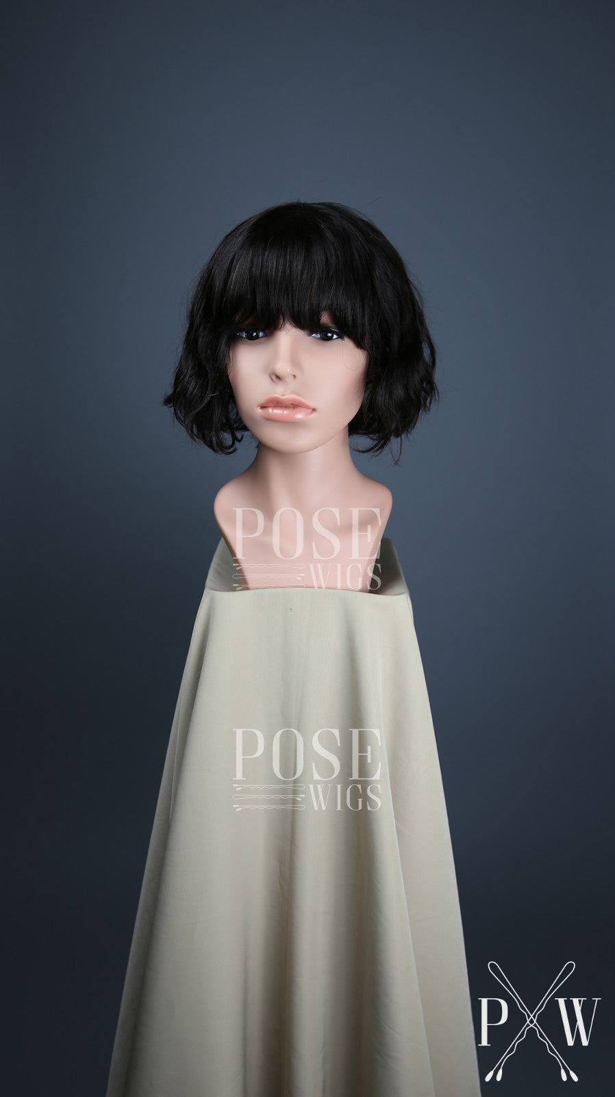 Natural Black Darkest Brown Short Wavy Bob With Bangs 100 Human Hai Pose Wigs