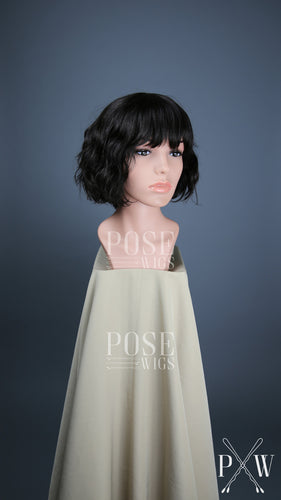 Natural Black / Darkest Brown Short Wavy Bob with Bangs 100% Human Hair Fashion Wig HFDRE59