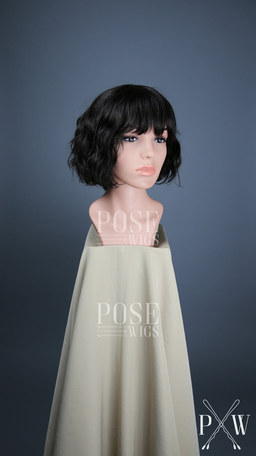 Natural Black   Darkest Brown Short Wavy Bob with Bangs 100% Human Hair  Fashion Wig 56d538aaf811