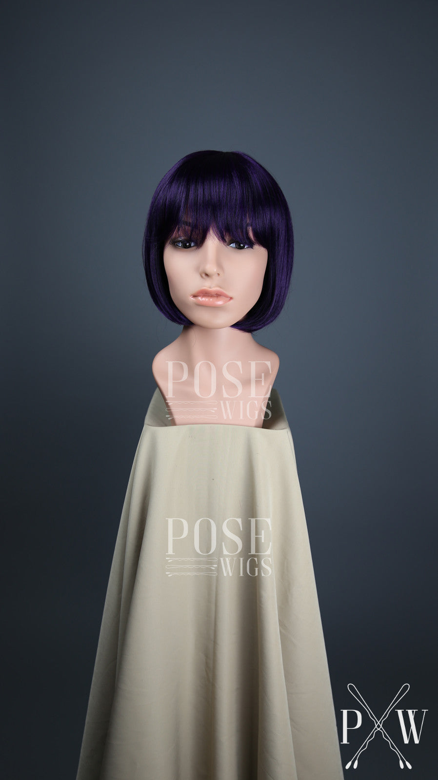 Dark Purple Short Straight Bob with Bangs Fashion Wig HSPET46