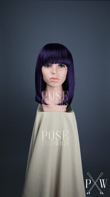 Dark Purple Medium Length Straight Bob with Bangs Fashion Wig HSDAR46