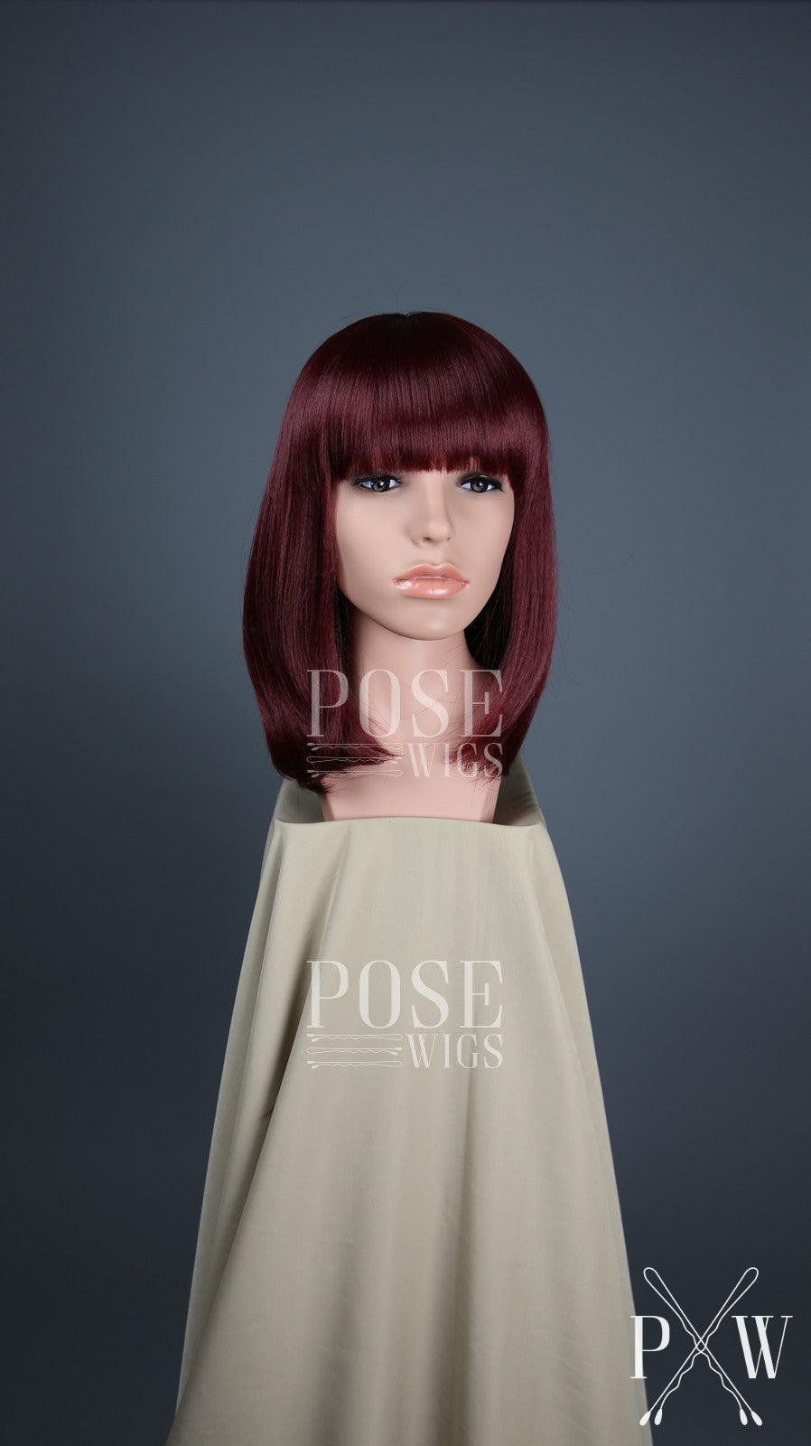 Burgundy Red Medium Length Straight Bob with Bangs Fashion Wig HSDAR50