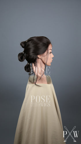 Dark Brown Custom Styled Updo Buns Lace Front Wig - Lady Series Rey Star Wars Cosplay Costume