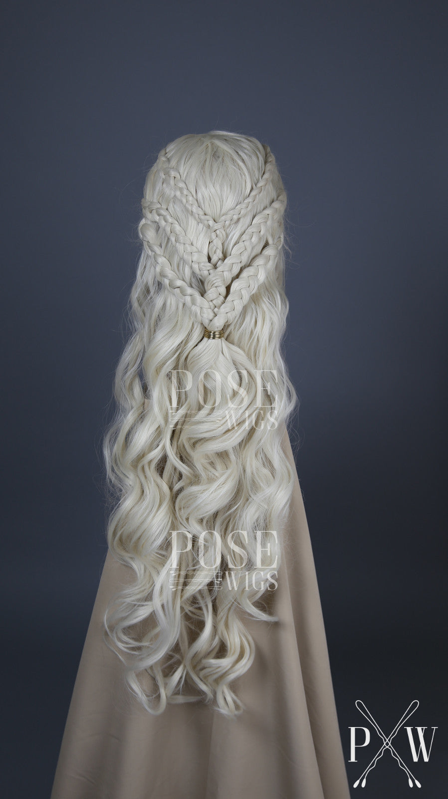 Daenerys Cosplay Wig Season 7 White Blonde Custom Braided Long Curly Lace Front Wig - Princess Series