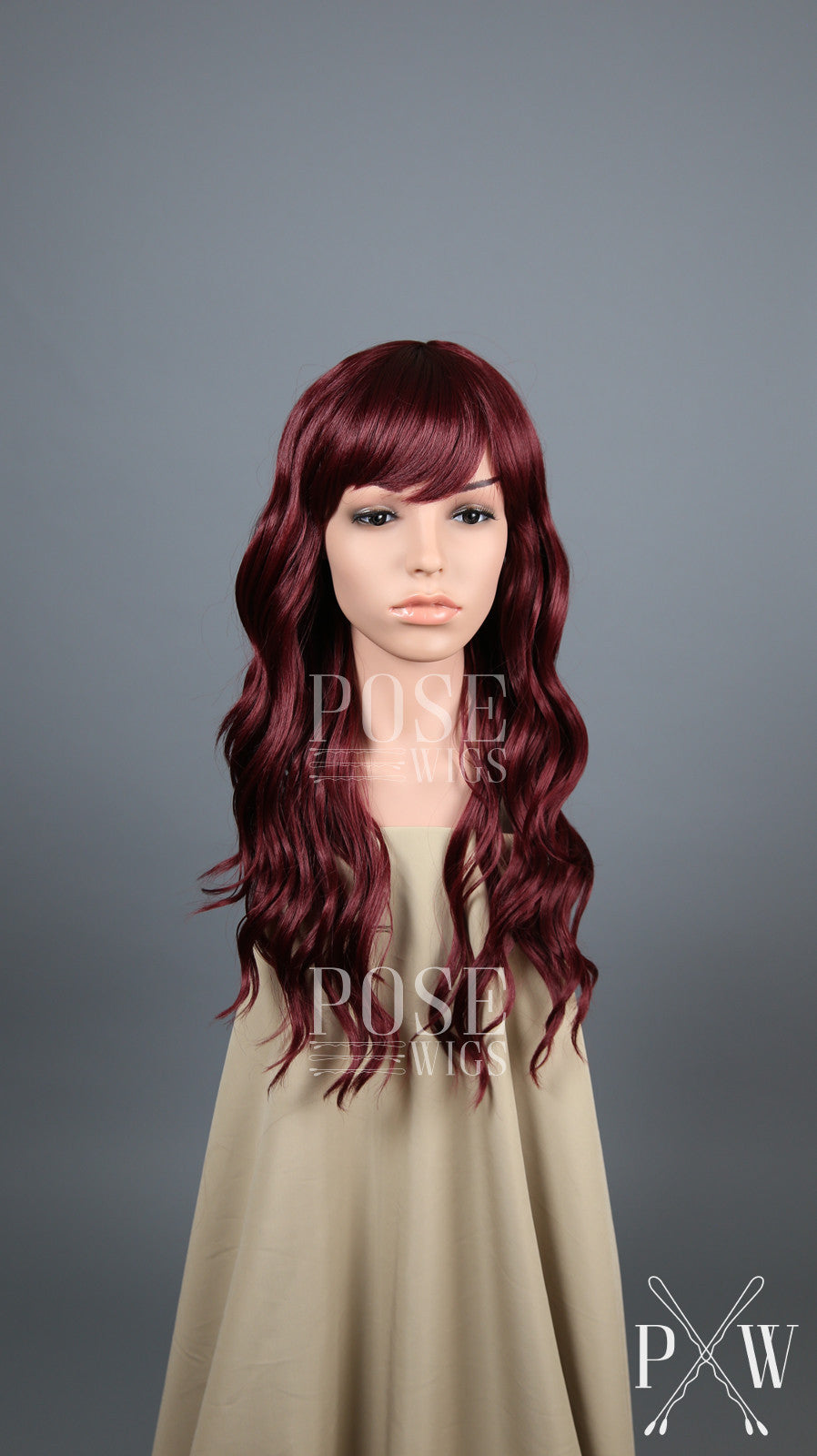 Burgundy Red Long Wavy with Bangs Fashion Wig HSOPH50