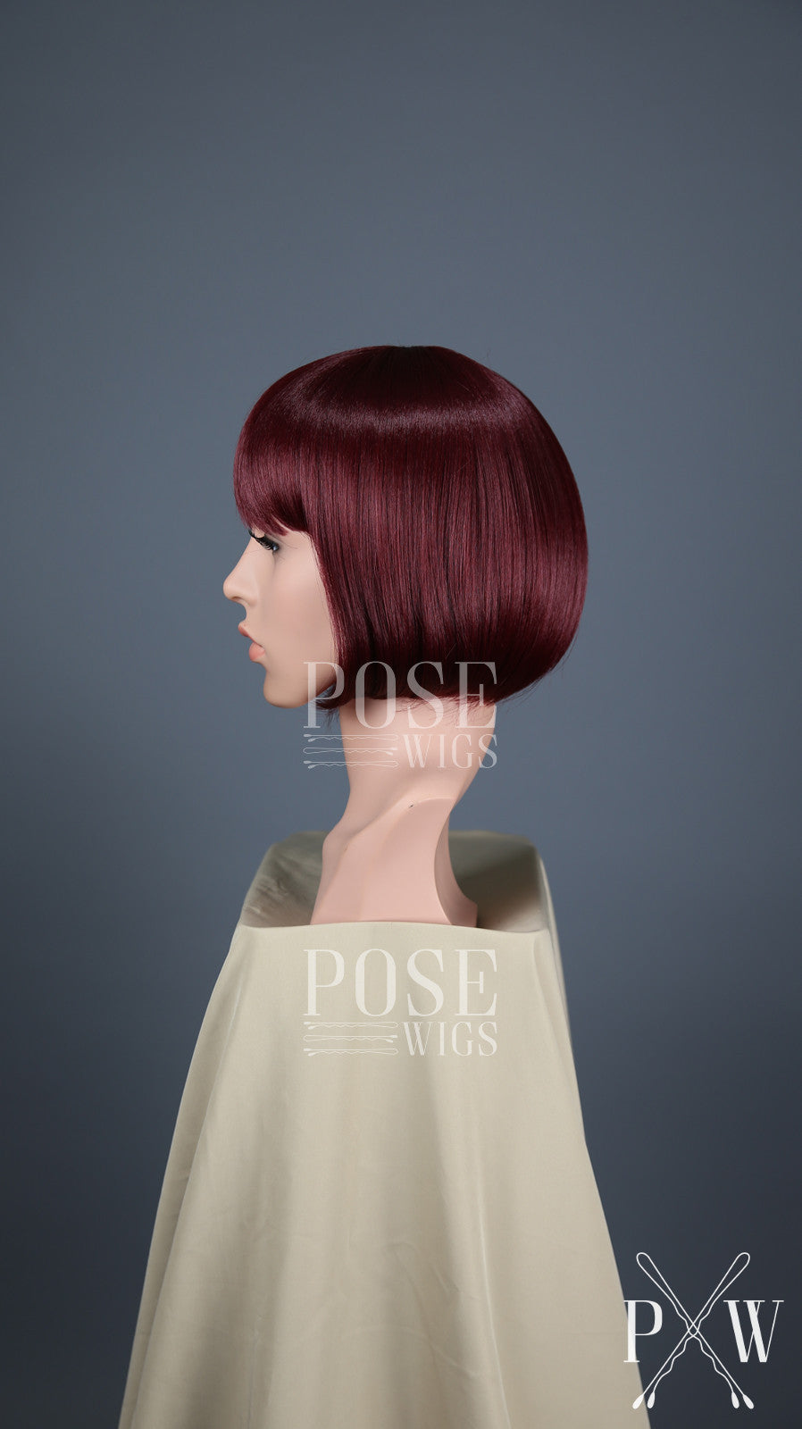 Burgundy Red Short Straight Bob with Bangs Fashion Wig HSPET50