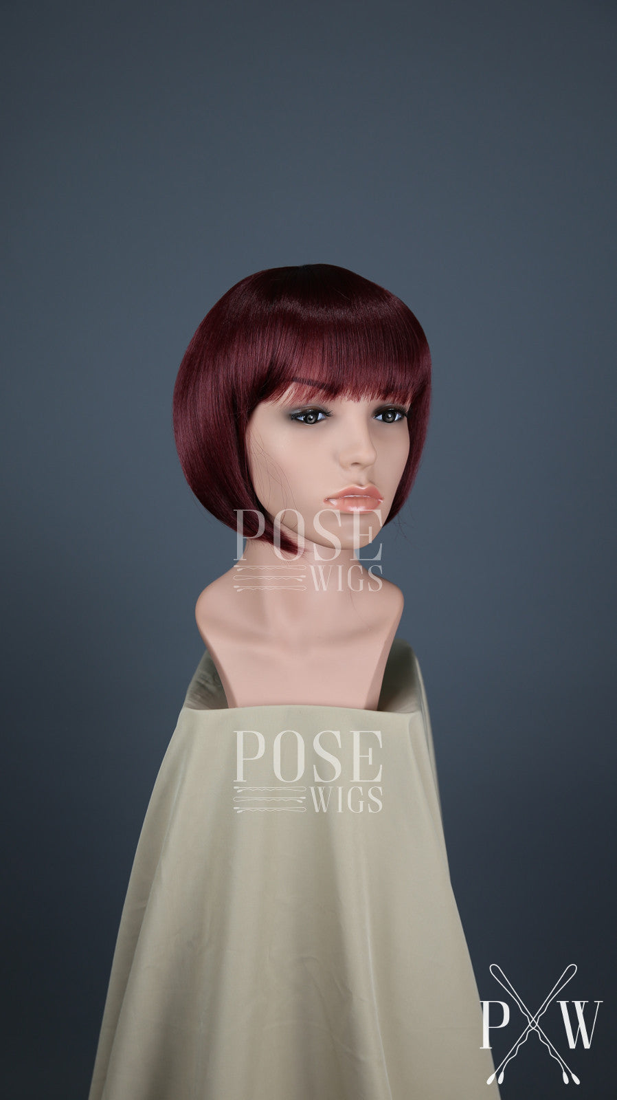 Burgundy Short Straight Bob with Bangs Fashion Wig HSPET50
