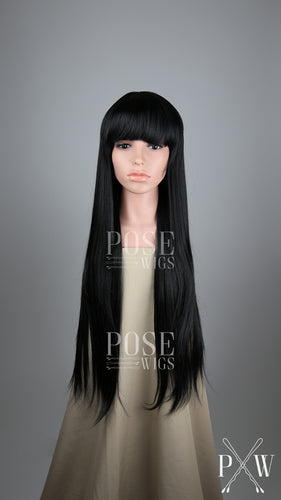 Black Long Straight with Bangs Fashion Wig HSNAS1