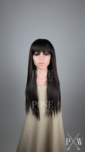 Dark Brown Long Straight with Bangs Fashion Wig HSOAS10