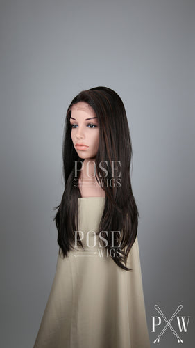 Dark Brown with Highlights Long Straight Lace Front Wig - Lady Series LLDAH11