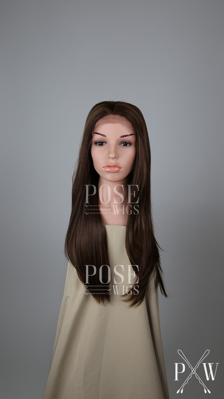 Dark Brown with Highlights Long Straight Lace Front Wig - Lady Series LLDAH18