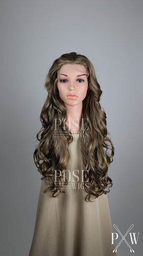 Ash Brown Long Curly Lace Front Wig - Princess Series LP042