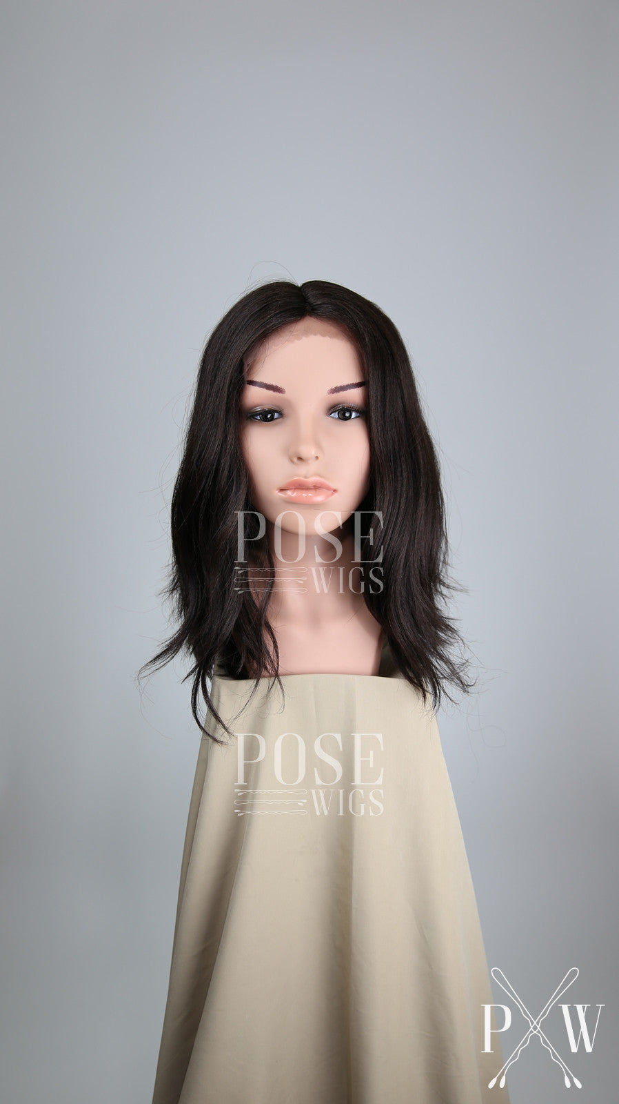 Dark Brown Medium Length Wavy Bob Lace Front Wig Duchess Series Ldha Pose Wigs