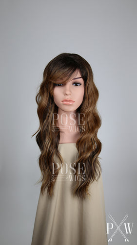 Balayage Brown Ombre Long Curly Hair with Bangs Fashion Wig - Large 23