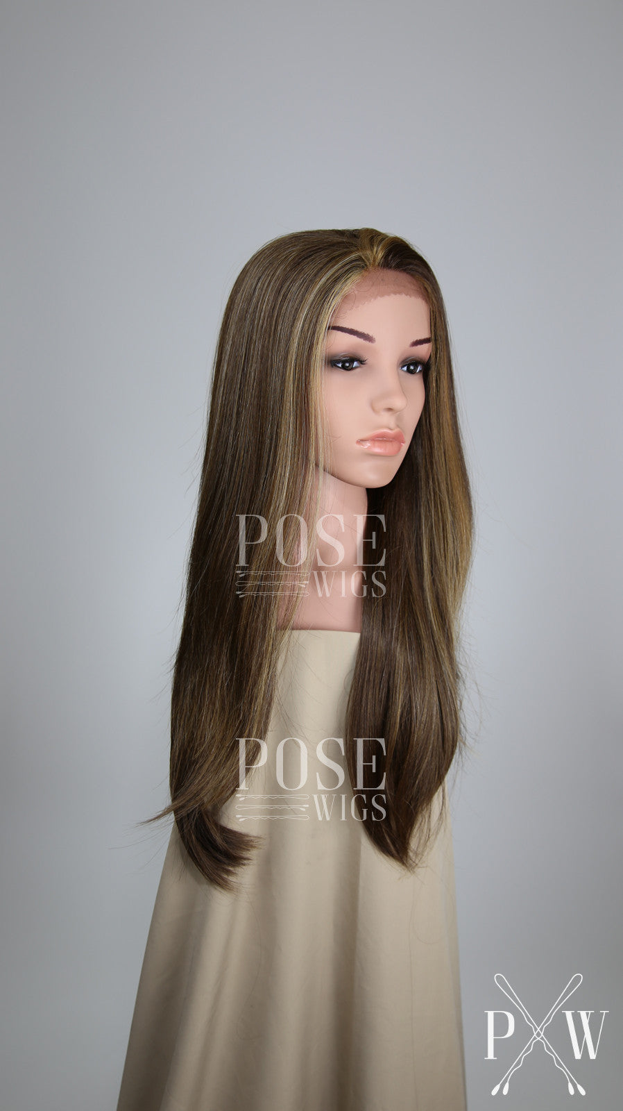 Light Brown with Highlights Long Straight Lace Front Wig - Lady Series LLDAH26