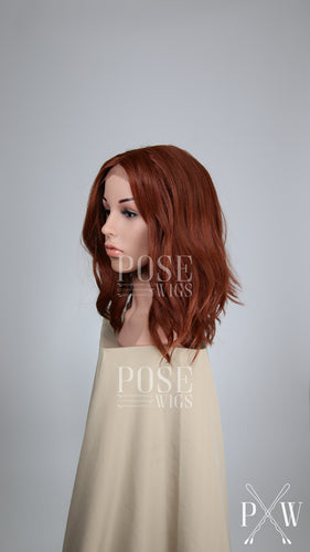 Red Medium Long Wavy Bob Lace Front Wig - Lady Series LLHAT52