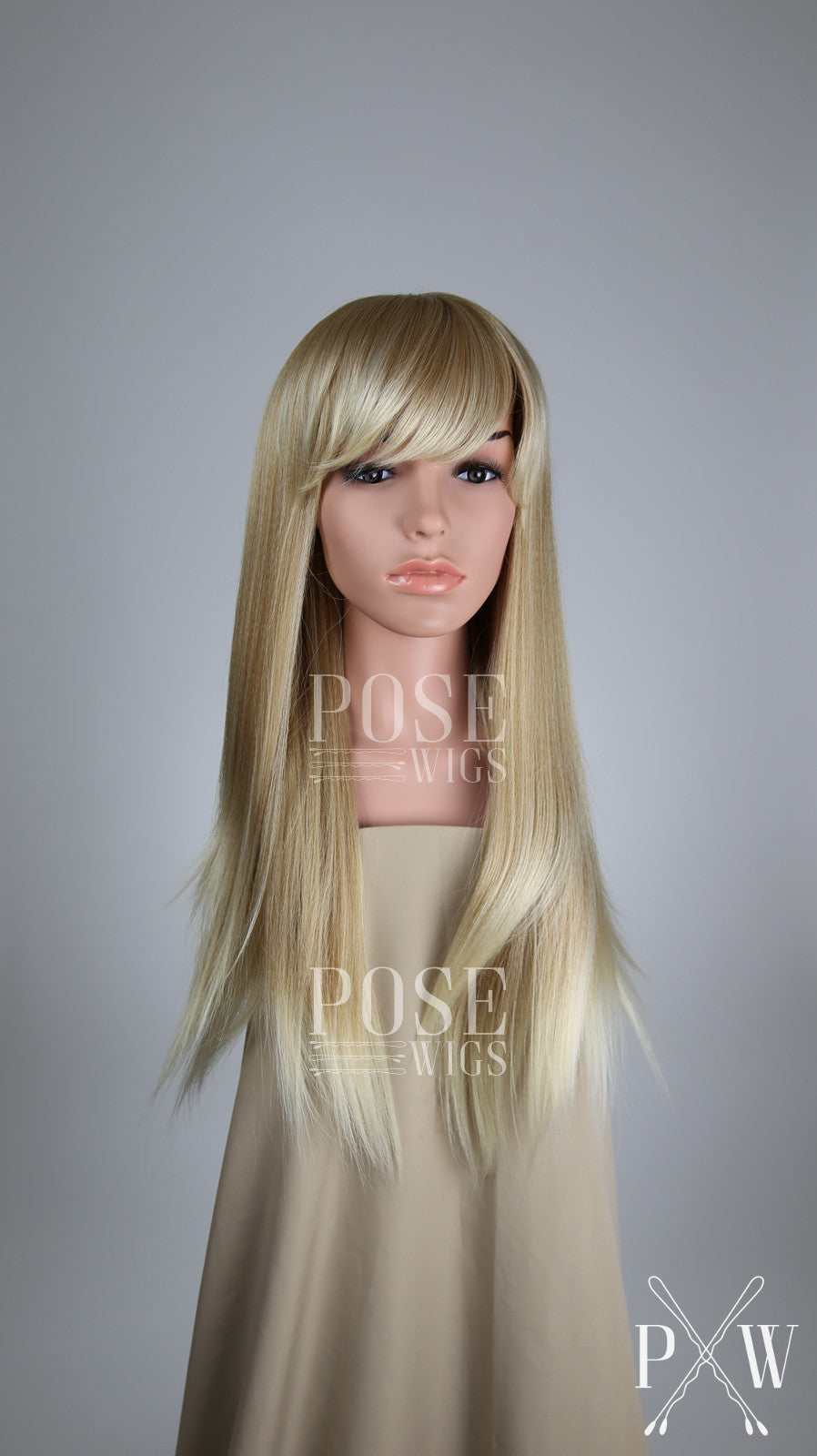 Strawberry Blonde Ombre Long Straight with Bangs Fashion Wig HSOAS91