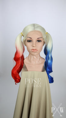 Harley Quinn Long Pigtails Lace Front Wig - Blonde, Red, + Blue Princess Series LP075