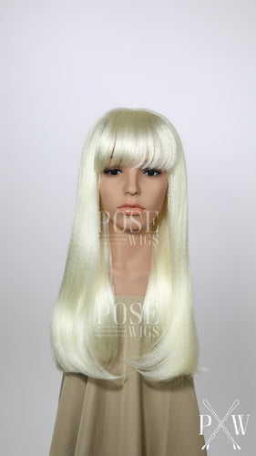White Blonde Long Straight with Bangs Costume Wig FKEL45