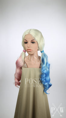 Harley Quinn Long Low Pigtails Lace Front Wig - Blonde, Pink, + Blue Suicide Squad Princess Series LP053L