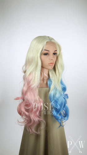 Harley Quinn Long Down Hair Lace Front Wig - Blonde, Pink, + Blue Suicide Squad - Pigtails Wig Worn Down - Princess Series LP053D