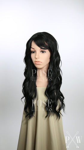 Black Long Curly Hair with Bangs Fashion Wig - Large 23