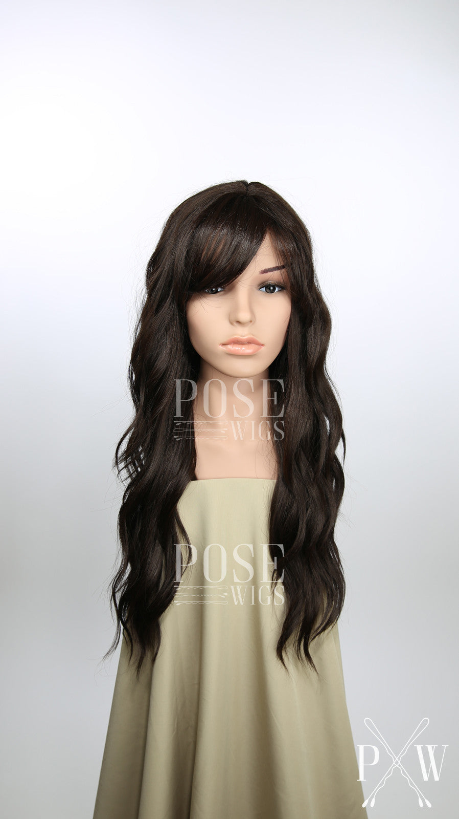 Dark Brown Long Curly Hair with Bangs Fashion Wig - Large 23