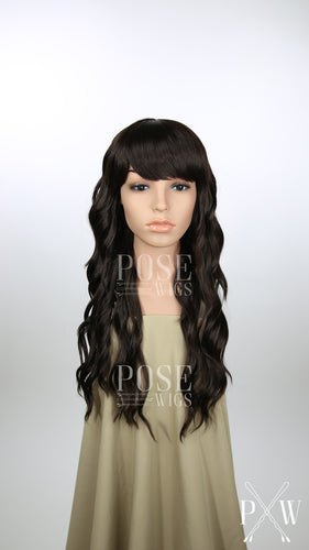 Dark Brown Long Wavy with Bangs Fashion Wig HSOPH10