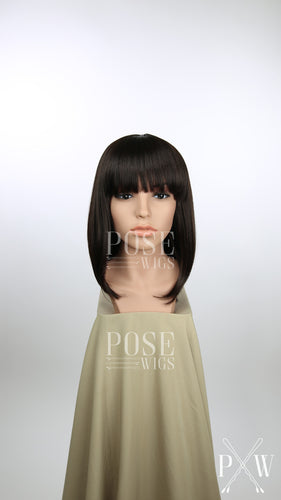 Dark Brown Medium Length Straight Bob with Bangs Fashion Wig HSDAR10