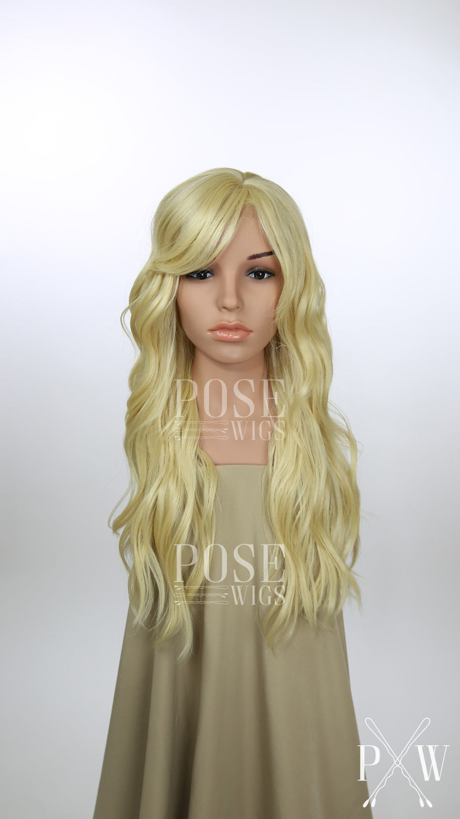 Blonde Long Curly Hair with Bangs Fashion Wig - Large 23