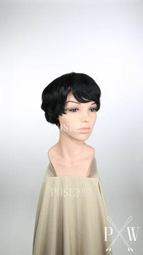 Black Short Straight 100% Human Hair Pixie Fashion Wig HFTIA1
