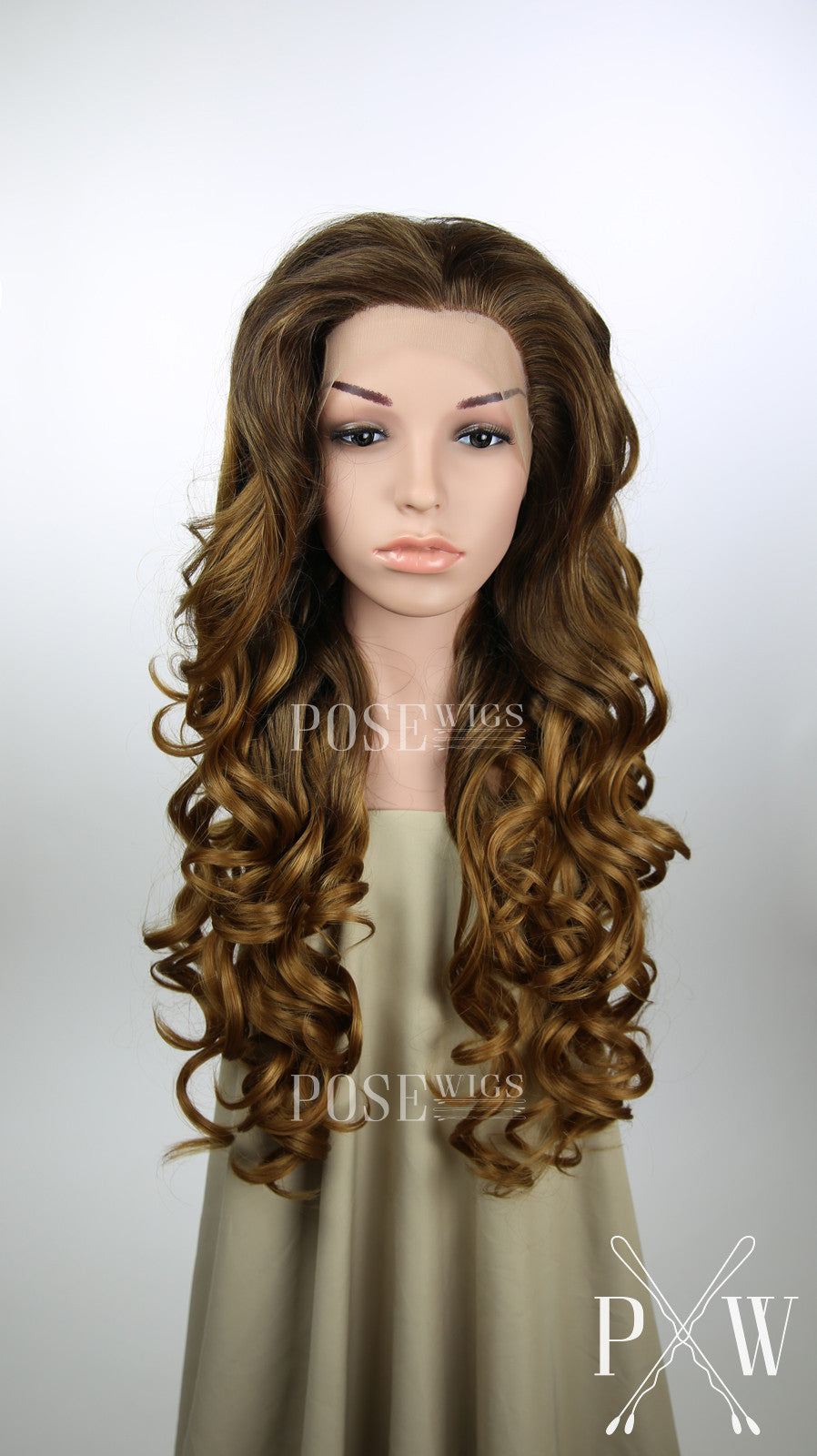 Brown and Strawberry Blonde Ombre Long Curly Lace Front Wig - Princess Series LP089