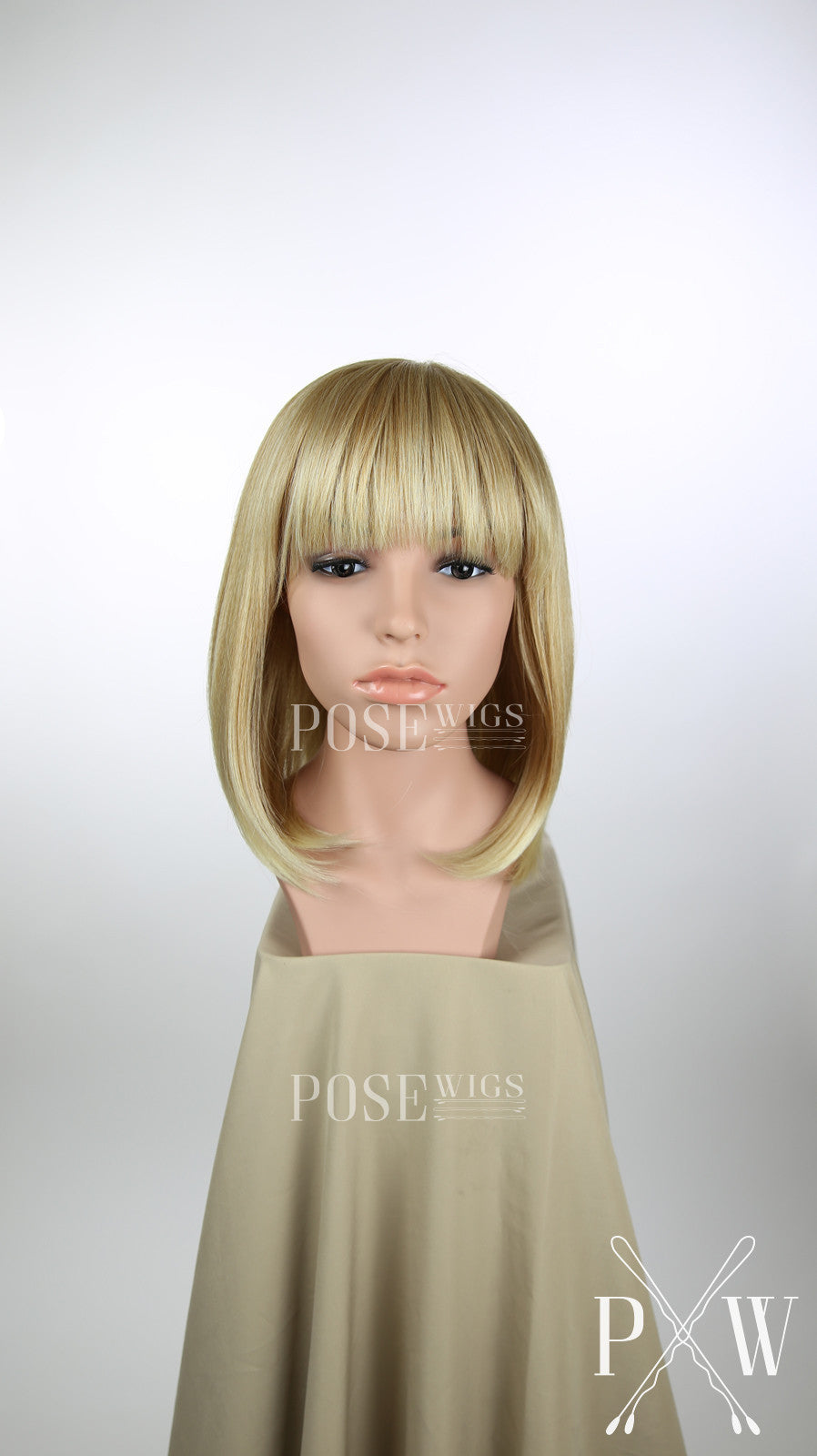 Strawberry Blonde Ombre Medium Length Straight Bob with Bangs Fashion Wig HSDAR91